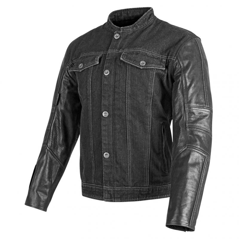 Speed and Strength Band Of Brothers Jacket | Denim Motorcycle Jacket With Leather Sleeves