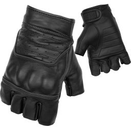 Black Brand Brawler Shorty Gloves | Perforated Black Leather Fiingerless Motorcycle Gloves