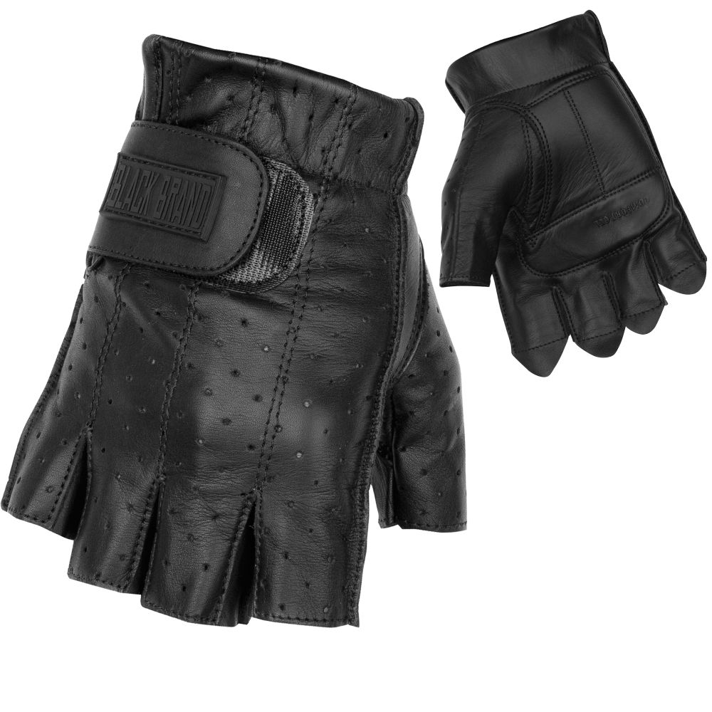 Black leather gloves brisbane - Black Brand Classic Shorty Gloves Perforated Black Leather Fiingerless Biker Gloves