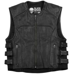 Mens Black Brand Ice Pick Perforated Leather Motorcycle Vest | Black Leather Biker Vest