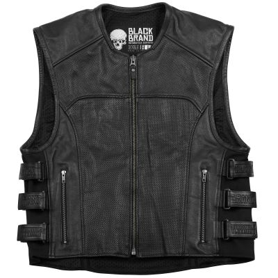 Mens Black Brand Ice Pick Perforated Leather Motorcycle Vest | Black Leather Biker Vest