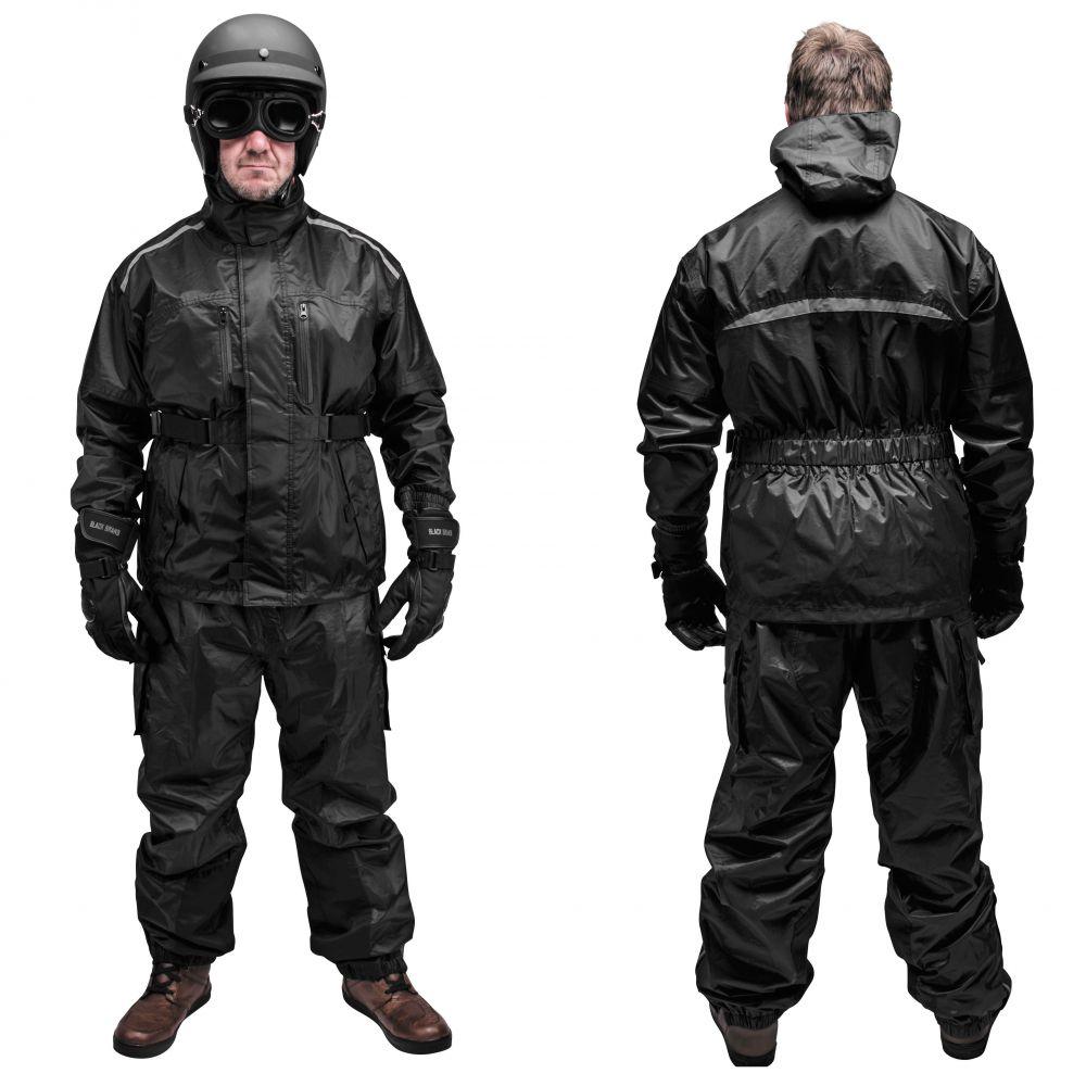 3ea58fb32844 Black Brand Tempest Rain Suit - Black - Two Piece - Motorcycle Rain Suit