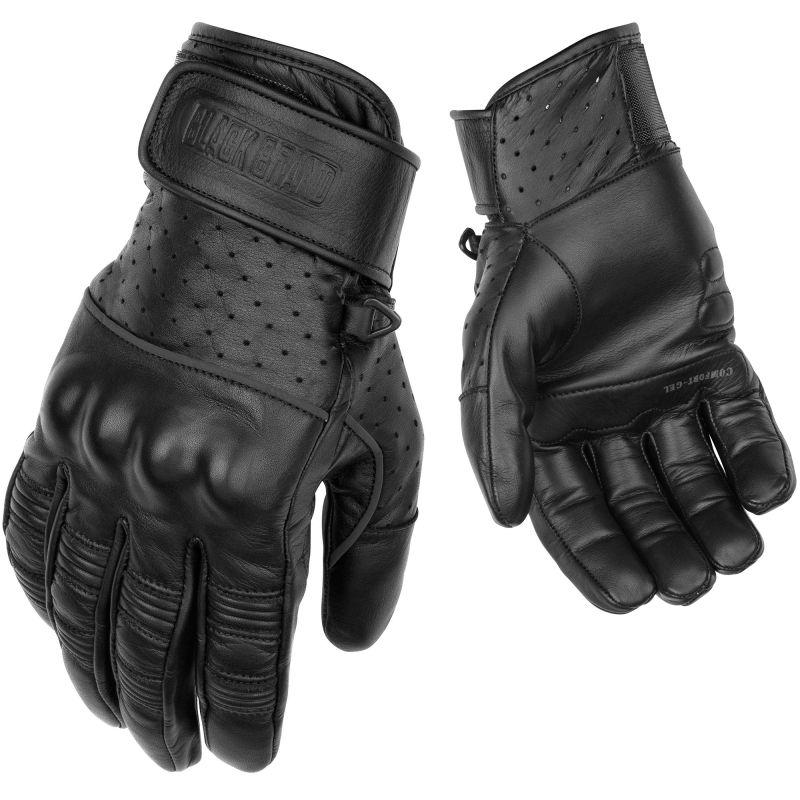 Black Brand Protector Gloves | Black Leather Biker Glovers
