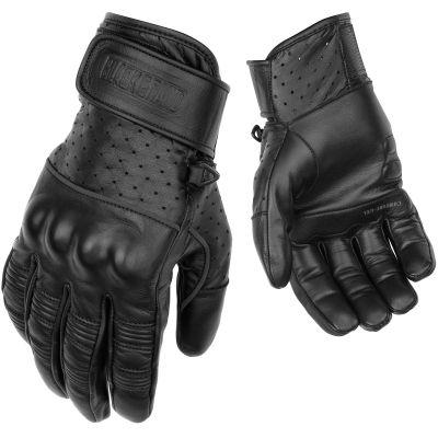 Black Brand Protector Gloves   Black Leather Biker Glovers