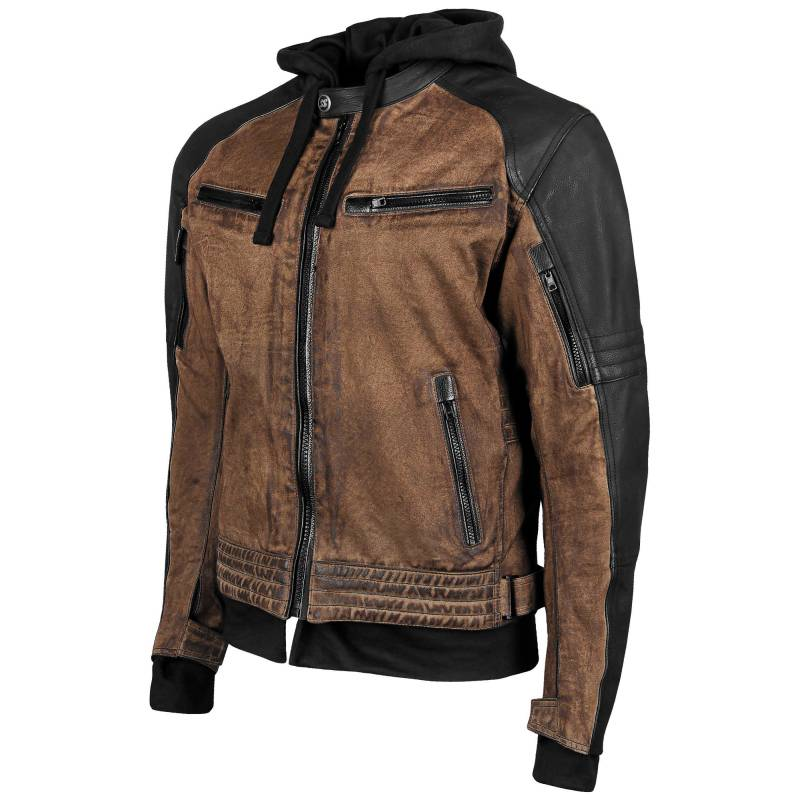 Speed and Strength Straight Savage Waxed Canvas Motorcycle Jacket - Brown - Sizes Small To 3XL
