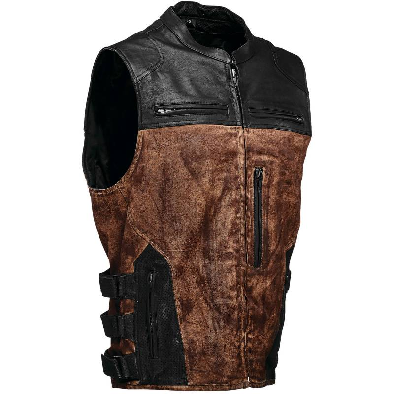 Speed And Strength Tough As Nails Motorcycle Vest | Black And Brown Leather And Waxed Canvas Biker Vest