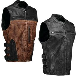 Speed And Strength Tough As Nails Motorcycle Vest | Leather And Waxed Canvas Biker Vest