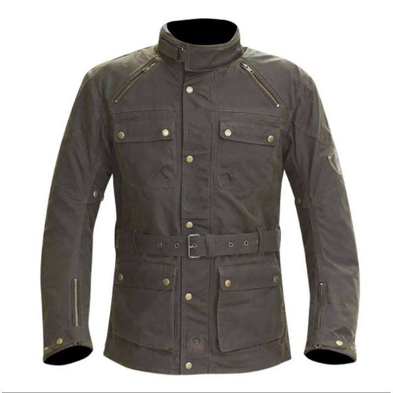 Merlin Rowan Waxed Cotton Motorcycle Jacket - Brown
