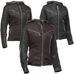 Speed and Strength Street Savvy Women's Jacket | Leather And Wax Canvas Ladies Cruiser Jacket