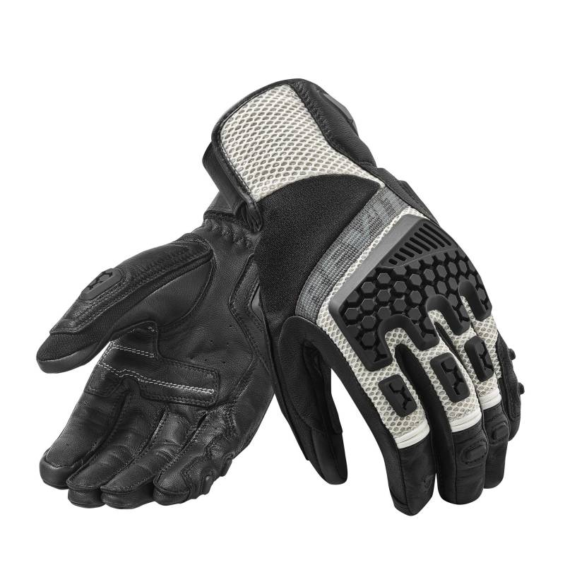 REV'IT! Sand 3 Summer Motorcycle Gloves - Silver and Black