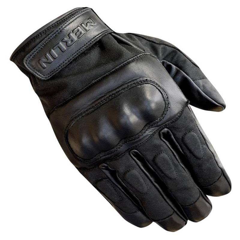 Merlin Ranton Wax Canvas and Leather Motorcycle Gloves - Black