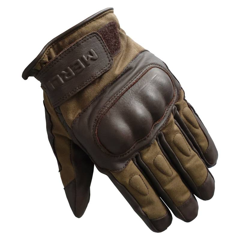 Merlin Ranton Wax Canvas and Leather Motorcycle Gloves - Brown