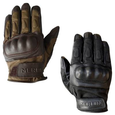 Merlin Ranton Wax Canvas and Leather Motorcycle Gloves
