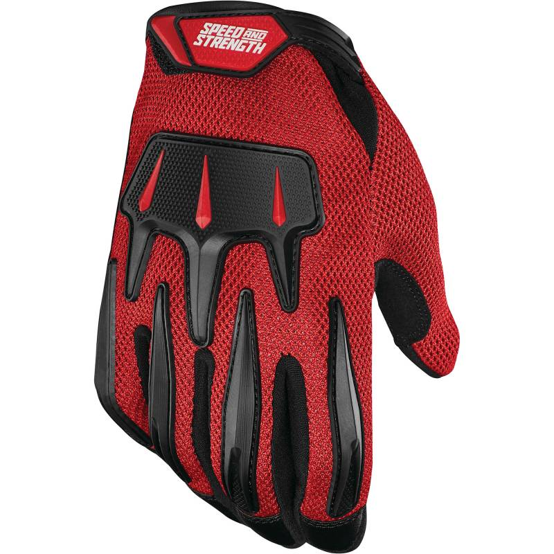 Speed and Strength Hot Head Mesh Summer Motorcycle Gloves - Red / Black