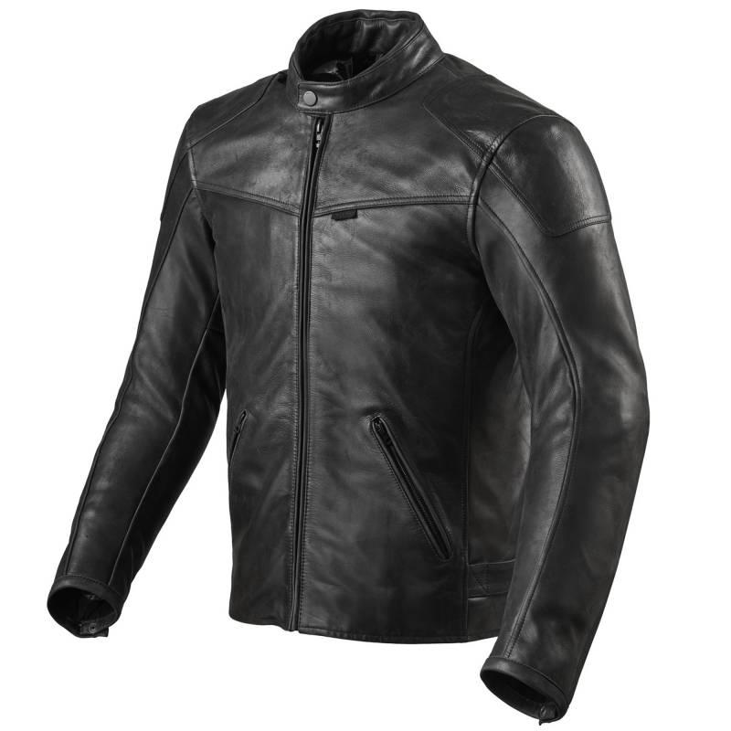REVIT! Sherwood Classic Black Leather Motorcycle Jacket